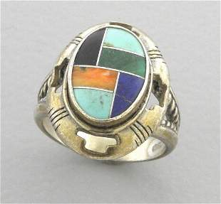 CAROLYN POLLACK STERLING SILVER MOSAIC TURQUOISE RING