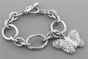 KIESELSTEIN CORD STERLING BUTTERFLY TOGGLE BRACELET