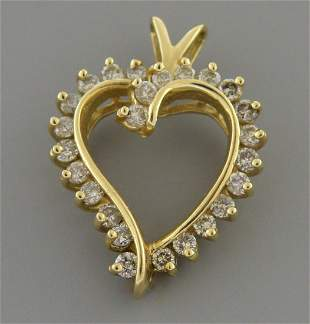 14K YELLOW GOLD LADIES DIAMOND OPEN HEART PENDANT 1CT