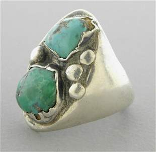VINTAGE BEAUTIFUL STERLING SILVER TURQUOISE UNISEX RING