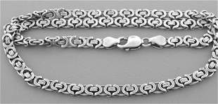 FLAT BYZANTINE CHAIN STERLING SILVER NECKLACE MEN 22""