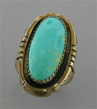 VINTAGE FRANK YAZZIE NAVAJO SILVER TURQUOISE RING