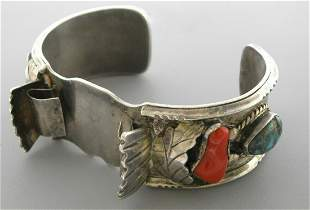 VINTAGE BEAUTIFUL NAVAJO SILVER TURQUOISE CORAL CUFF