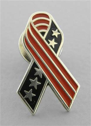 TIFFANY & Co. STERLING SILVER AMERICAN FLAG RIBBON PIN