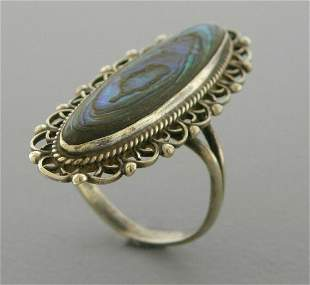 VINTAGE BEAUTIFUL STERLING SILVER ABALONE RING MEXICO