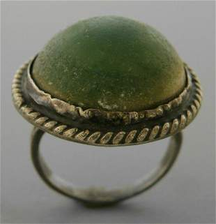 VINTAGE BEAUTIFUL STERLING SILVER GREEN TURQUOISE RING