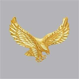 NEW 14K YELLOW GOLD FANCY LARGE EAGLE PENDANT