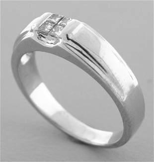 14K WHITE GOLD MENS PRINCESS CUT DIAMOND RING 0.20ct