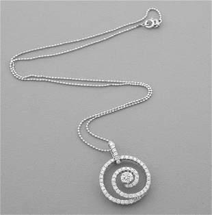 14K WHITE GOLD DIAMOND CIRCLE SWIRL NECKLACE 0.70ct