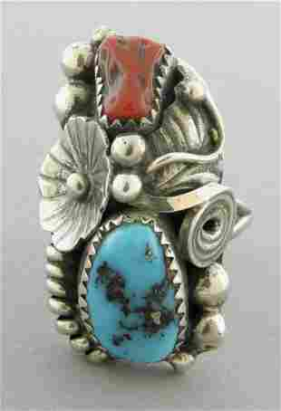 VINTAGE BEAUTIFUL NAVAJO SILVER TURQUOISE CORAL RING
