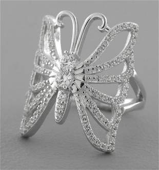 NEW STERLING SILVER BUTTERFLY CZ LADIES GIRLS RING