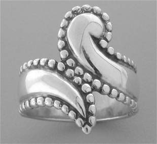 JAMES AVERY STERLING SILVER BEADED BYPASS RING SIZE 7.5
