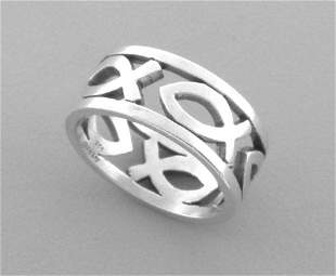 JAMES AVERY STERLING SILVER ICHTHUS FISH RING SIZE 5.5