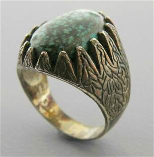 VINTAGE STERLING SILVER SPIDERWEB TURQUOISE MENS RING
