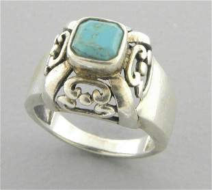 VINTAGE BEAUTIFUL STERLING SILVER TURQUOISE RING