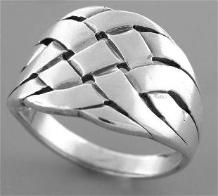 JAMES AVERY STERLING SILVER BASKET WEAVE RING SIZE 7.25