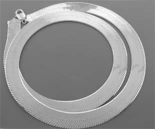 "MAGIC HERRINGBONE SILVER ITALIAN NECKLACE 14.5mm - 30"""