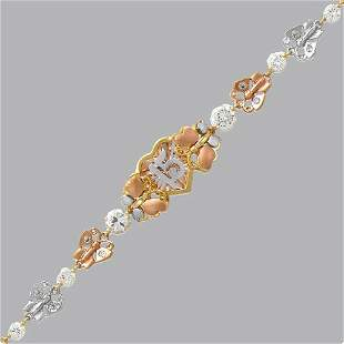 14K TRI-COLOR GOLD CZ 15 ANOS BRACELET HEART BUTTERFLY
