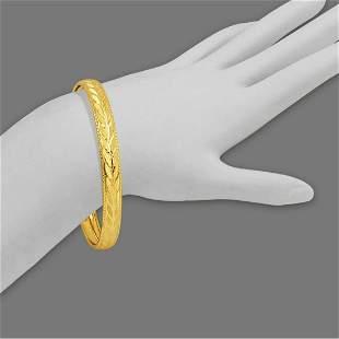 14K YELLOW GOLD LADIES DIAMOND CUT BANGLE BRACELET 8mm