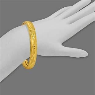 14K YELLOW GOLD LADIES DIAMOND CUT BANGLE BRACELET 10mm