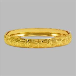 14K YELLOW GOLD DIAMOND CUT BANGLE BRACELET 10mm HEART