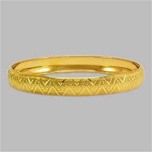 14K YELLOW GOLD DIAMOND CUT BANGLE BRACELET 10mm