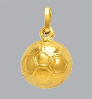 NEW 14K YELLOW GOLD SOCCER BALL FOOTBALL CHARM PENDANT