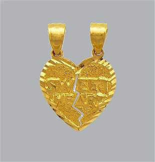 NEW 14K YELLOW GOLD PENDANT / CHARM HEART SWEET HEART