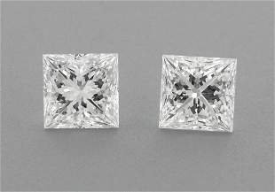 3mm MATCHING PAIR PRINCESS CUT UNTREATED DIAMOND F VVS1