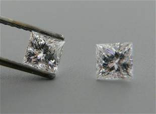 3.5mm MATCHING PAIR PRINCESS UNTREATED DIAMOND F VVS1