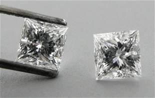 4mm MATCHING PAIR PRINCESS CUT UNTREATED DIAMOND F VVS1