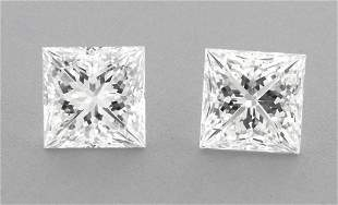 4.4mm MATCHING PAIR PRINCESS UNTREATED DIAMOND F VVS1
