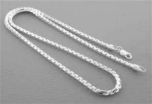 FANCY BOX CHAIN STERLING SILVER ITALIAN NECKLACE 3mm 26