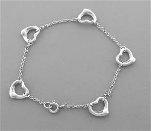 TIFFANY & CO. STERLING SILVER 5 OPEN HEART BRACELET