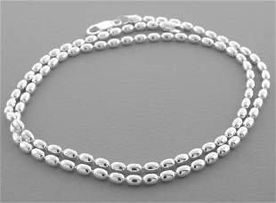 """OVAL BEAD CHAIN STERLING SILVER NECKLACE 3mm - 18"""""""