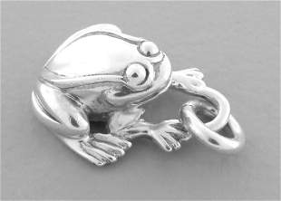 KIESELSTEIN CORD STERLING SILVER FROG PENDANT OR CHARM