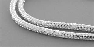 """SNAKE CHAIN STERLING SILVER ITALIAN NECKLACE 2.5mm 30"""""""