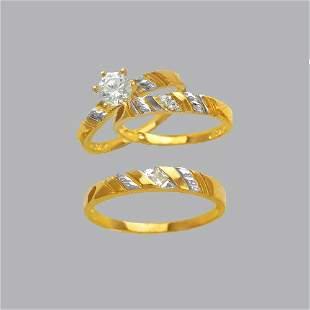 NEW 14K TWO TONE GOLD TRIO WEDDING SET CZ RING