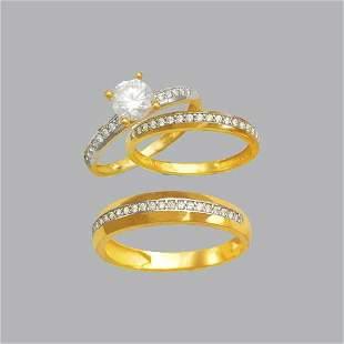 14K TWO TONE GOLD TRIO WEDDING SET CZ RING