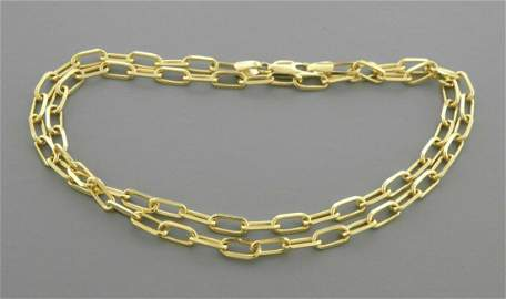 """14K YELLOW GOLD OVAL LINK CHAIN NECKLACE 3mm - 18\"""""""
