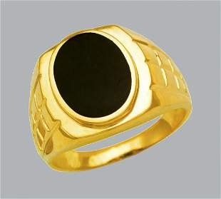 NEW 14K YELLOW GOLD MENS RING ONYX LARGE