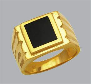NEW 14K YELLOW GOLD MENS RING ONYX LARGE SQUARE