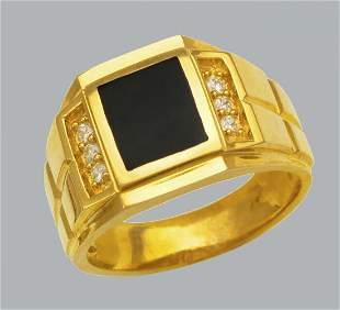 NEW 14K YELLOW GOLD MEN'S CZ RING ONYX LARGE