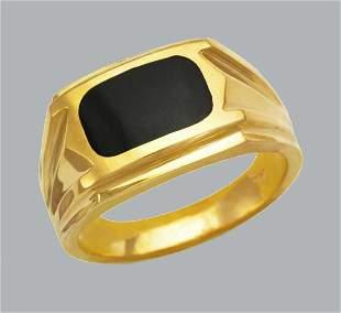 NEW 14K YELLOW GOLD MEN'S RING ONYX LARGE