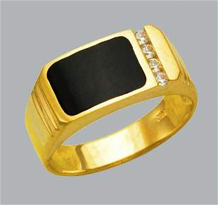 NEW 14K YELLOW GOLD MENS CZ RING ONYX LARGE