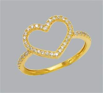 NEW 14K YELLOW GOLD LADIES FANCY CZ RING HEART