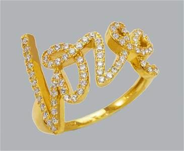 NEW 14K YELLOW GOLD LADIES FANCY CZ RING LOVE