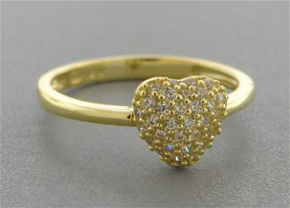 14K YELLOW GOLD LADIES FANCY CZ RING PUFFED PAVE HEART