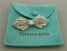 VINTAGE TIFFANY & CO PLATINUM BOW 3ct DIAMOND BROOCH