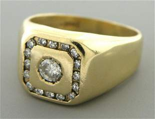 VINTAGE 14K YELLOW GOLD MENS SIGNET DIAMOND RING
